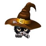 Black Kitten Cartoon With Witch Hat