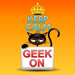 Keep Calm and Geek on! Cartoon Cat
