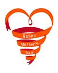 Happy Mothers day, red heart ribbon
