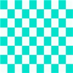 Teal and white checkerboard
