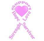 Breast Cancer. Pink Ribbon with the words: Support
