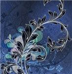 Blue and Black Flourish On A Grunge Background