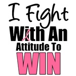 I Fight With An Attitude Breast Cancer T-Shirts