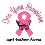 10 Year Breast Cancer Survivor T-Shirts