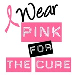 I Wear Pink Ribbon For The Cure Label T-Shirts