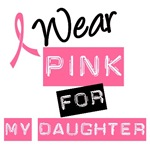 I Wear Pink Ribbon For My Daughter Label T-Shirts