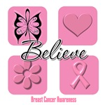 Believe Breast Cancer Shirts and Gifts