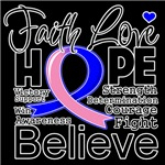 Faith Hope Male Breast Cancer Shirts