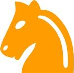 Orange Knight Chess Piece