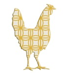 Rooster Silhouette retro yellow