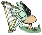 Frog playing harp