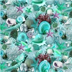 Green Seashells And Starfish