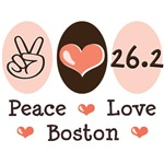 Peace Love 26.2 Boston T shirt Marathon Gifts