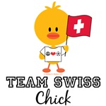 Team Swiss Chick Soccer T shirt Tees Gifts