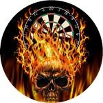 Flaming Darts Skull