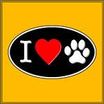 I Heart Paw Black Oval