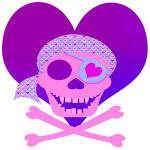 Pink Pirate Skull & Heart