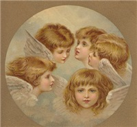 Five young angels in the sky