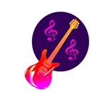 pink guitar purle circle clefs music