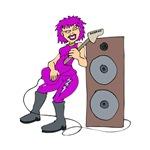 punk female guitarist purple musician
