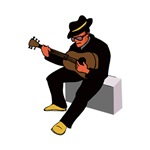 sitting guitar player blues in black