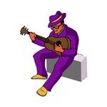 guitar player sitting on amp purple