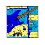 guitar and band design blue