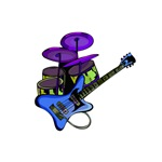 blue guitar purple drumset music