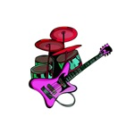drumset guitar purple design