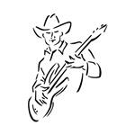 guitar player outline cowboy bk
