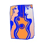 two figures and guitar blue