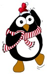 Cartoon Christmas Penguin dancing.