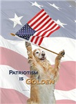 Patriotic Golden Retriever Dogs and American Flag