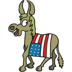 Democrat Donkey With American Flag