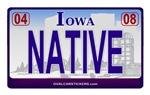 Iowa License Plate - NATIVE