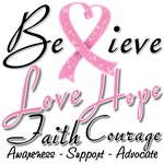 Breast Cancer Believe Heart Collage Shirts