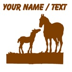 Custom Mare And Foal Silhouette