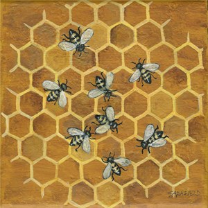 Stunning painting of bees on honeycomb.