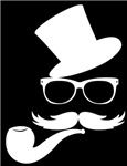 Funny Mustache Face With Pipe
