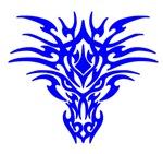 Blue Tattoo Dragon Face