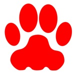 Red Big Cat Paw Print