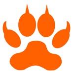 Orange Wolf Paw Print