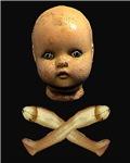 Victorian Doll Head Crossbones Goth Horror Spooky
