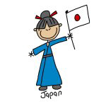 Japan Stick Figure T-shirts and Gifts