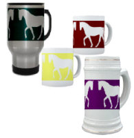 Horse Silhouette in Gait, Various Color Background