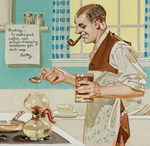 Mid-Century Man Making Coffee