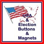 USA and Election buttons and magnets