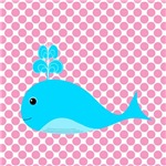 Teal Whale on Pink