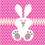 White Bunny on Pink