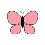 Light Pink and Black Butterfly